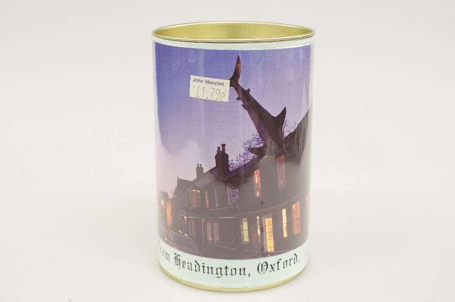 Sweet tin with a photograph of the Headington shark