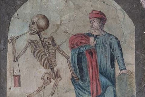 Dance of death panel showing a painting of a physician 'dancing' with a representation of death as a skeleton