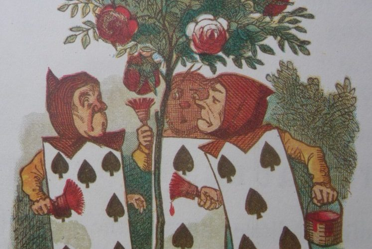 Three cartoon playing cards surround a roses tree painting the roses red. An original drawing for the Lewis Carroll book Alice's adventures in Wonderland. Drawing by Tenniel.