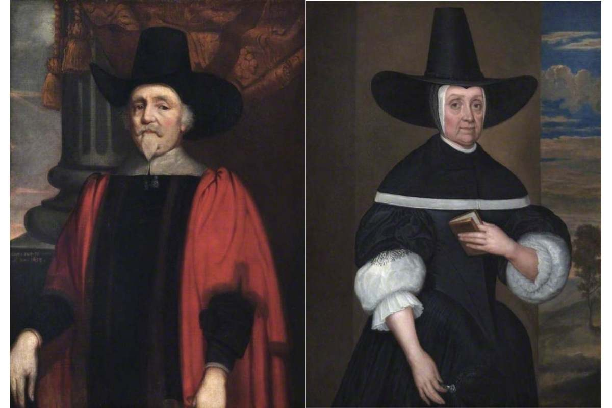 Two paintings, one of an older man wearing red mayoral robes and a puritan hat, the other of an older lady dressed in black.
