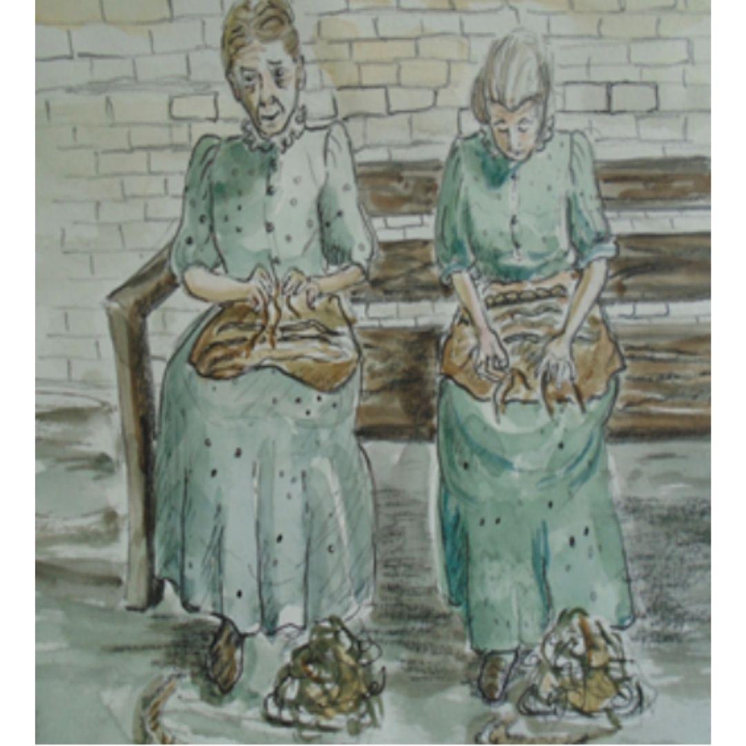 Watercolour drawing of two older women unpicking oakum
