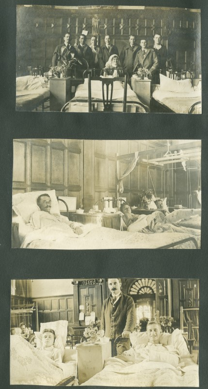 Black and white photographs of patients in beds and the nurses who looked after them