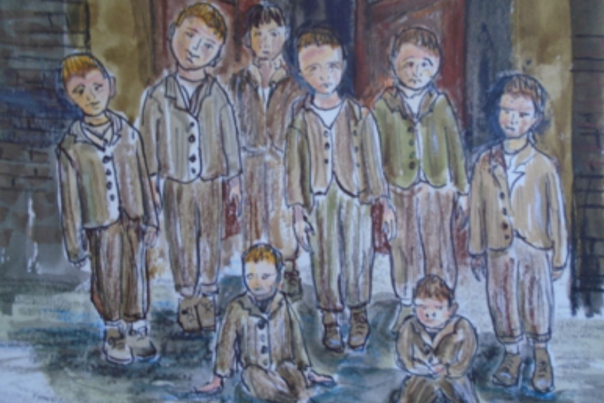 Watercolour drawing of a group of boys dressed in brown shabby clothes