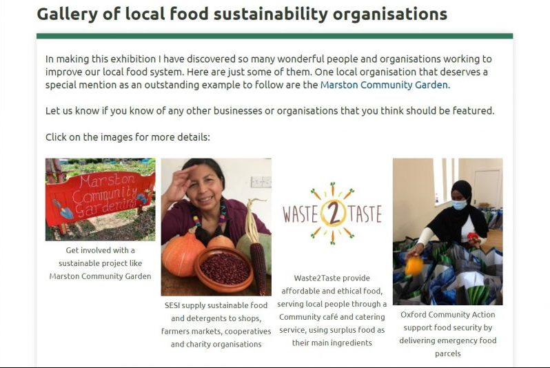 Screenshot of the food sustainability online exhibition