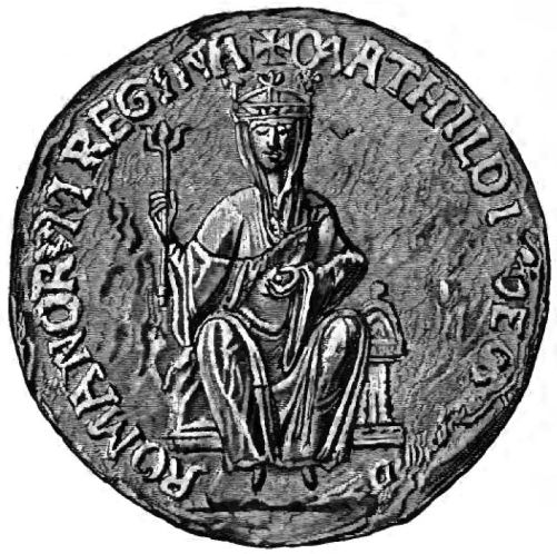 Silver coin showing a crowned Matilda on a throne