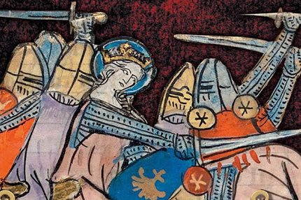 Medieval painting showing Matilda in battle with her knights, brandishing a sword