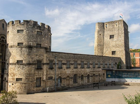 Photograph of Oxford Castle in the sunshine