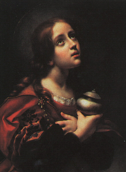 Portrait painting of Mary Magdalen dressed in a red dress, looking up and holding onto a jar. Painting by Carlo Dolci