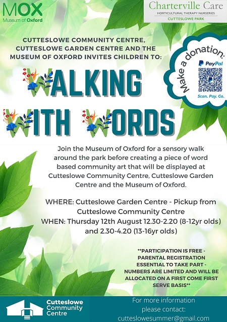 Poster advertising Walking with words