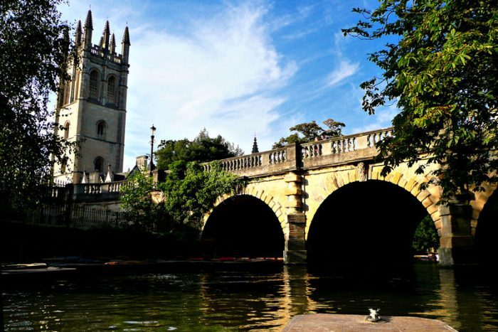 Photograph of Magdalen bridge from the river
