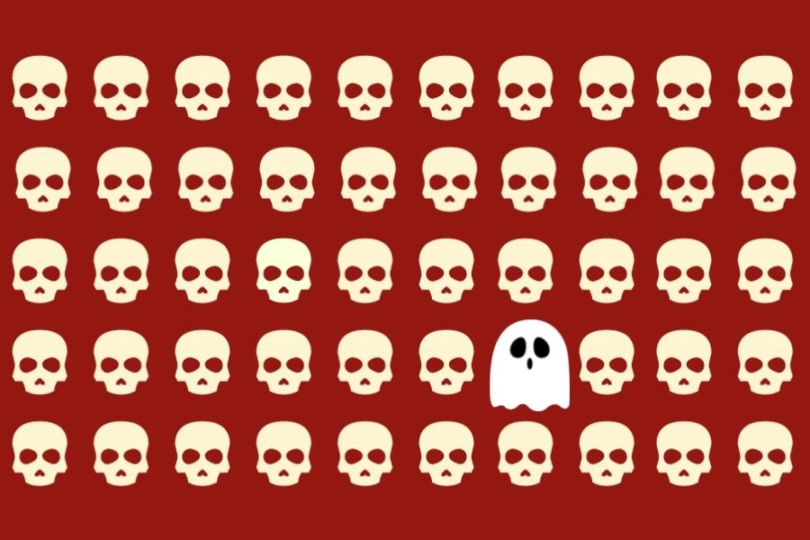 Pattern of skulls with a ghost in the middle
